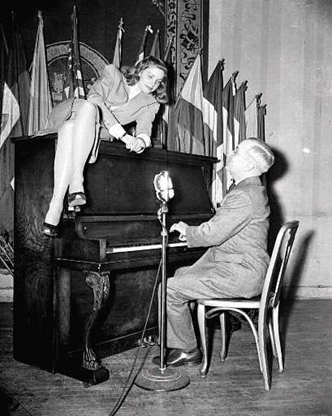 Lauren Bacall piano